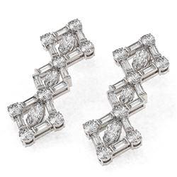 5.12 ctw Marquise Cut Diamond Designer Earrings 18K White Gold