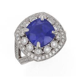 6.47 ctw Certified Sapphire & Diamond Victorian Ring 14K White Gold
