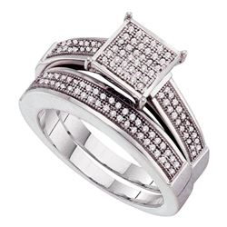 Sterling Silver Round Diamond Bridal Wedding Engagement Ring Band Set 1/3 Cttw