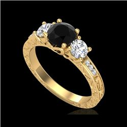 1.41 ctw Fancy Black Diamond Art Deco 3 Stone Ring 18K Yellow Gold