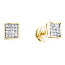 Yellow-tone Sterling Silver Round Diamond Cluster Earrings 1/20 Cttw