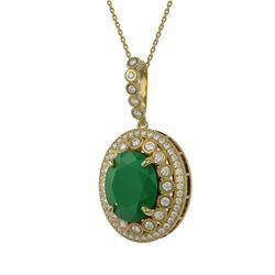 13.75 ctw Emerald & Diamond Victorian Necklace 14K Yellow Gold