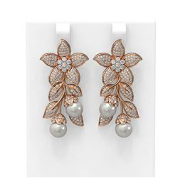 3.05 ctw Diamond and Pearl Earrings 18K Rose Gold