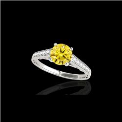 1.35 ctw Certified SI/I Fancy Intense Yellow Diamond Ring 10K White Gold