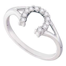 10kt White Gold Round Diamond Lucky Horseshoe Split-shank Ring 1/10 Cttw
