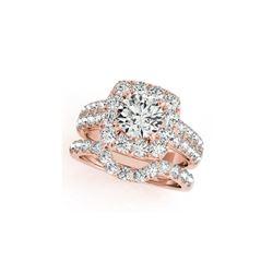 3.01 ctw Certified VS/SI Diamond 2pc Wedding Set Halo 14K Rose Gold