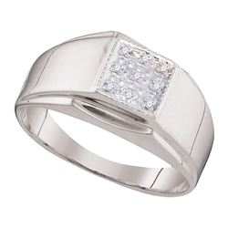 Sterling Silver Mens Round Diamond Square Cluster Ring .03 Cttw