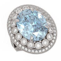 16.82 ctw Certified Sky Topaz & Diamond Victorian Ring 14K White Gold