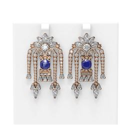 16.13 ctw Sapphire & Diamond Earrings 18K Rose Gold