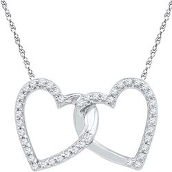 10kt White Gold Round Diamond Double Linked Heart Pendant 1/6 Cttw