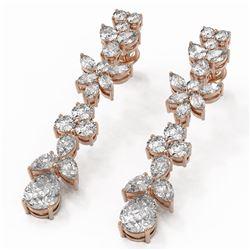 8.34 ctw Pear Cut Diamond Designer Earrings 18K Rose Gold