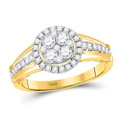 14kt Yellow Gold Round Diamond Cluster Bridal Wedding Engagement Ring 3/4 Cttw