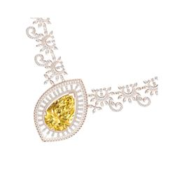 53.17 ctw Canary Citrine & VS Diamond Necklace 18K Rose Gold