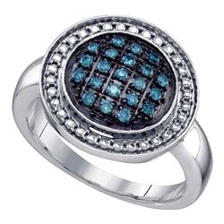 Sterling Silver Round Blue Color Enhanced Diamond Circle Cluster Ring 1/5 Cttw