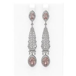 9.72 ctw Morganite & Diamond Earrings 18K White Gold