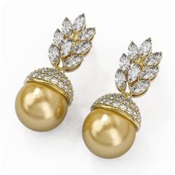 5.78 ctw Marquise Diamond and Pearl Earrings 18K Yellow Gold