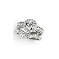 1.96 ctw Certified VS/SI Diamond 2pc Wedding Set Halo 14K White Gold