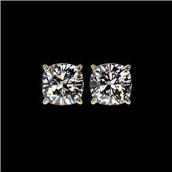 2.50 ctw VS/SI Quality Cushion Diamond Stud Earrings 10K Yellow Gold