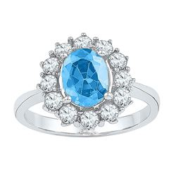 Sterling Silver Oval Lab-Created Blue Topaz Solitaire Ring 3-1/5 Cttw