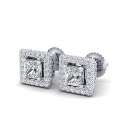 2.25 ctw Princess VS/SI Diamond Micro Pave Stud Earrings 18K White Gold