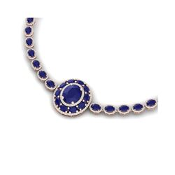 43.54 ctw Sapphire & VS Diamond Necklace 18K Rose Gold