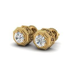 1.07 ctw VS/SI Diamond Solitaire Art Deco Stud Earrings 18K Yellow Gold