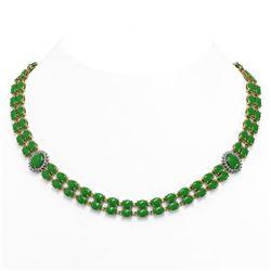 65.77 ctw Jade & Diamond Necklace 14K Yellow Gold
