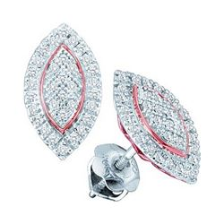 10kt White Gold Round Diamond Cluster Oval Rose-tone Stud Earrings 1/5 Cttw