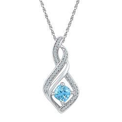 Sterling Silver Round Blue Topaz Diamond-accent Fashion Pendant 1/8 Cttw