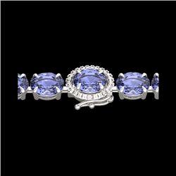 19.25 ctw Tanzanite & Diamond Eternity Micro Bracelet 14K White Gold