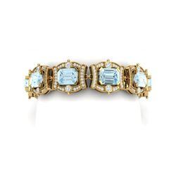 42.18 ctw Sky Topaz & VS Diamond Bracelet 18K Yellow Gold