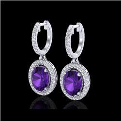 3.50 ctw Amethyst & Micro Pave VS/SI Diamond Earrings 18K White Gold