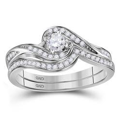 10kt White Gold Round Diamond Bridal Wedding Engagement Ring Band Set 1/3 Cttw