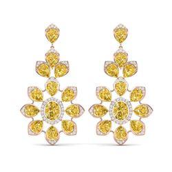 48.67 ctw Canary Citrine & VS Diamond Earrings 18K Rose Gold