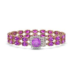 28.08 ctw Amethyst & Diamond Bracelet 14K Rose Gold