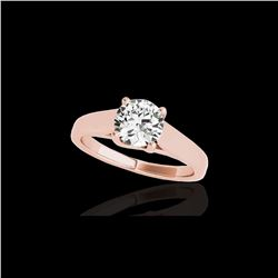 1 ctw Certified Diamond Solitaire Ring 10K Rose Gold