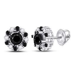 10kt White Gold Round Black Color Enhanced Diamond Stud Earrings 1.00 Cttw