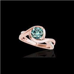 1.15 ctw SI Certified Fancy Blue Diamond Solitaire Ring 10K Rose Gold