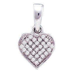 10kt White Gold Round Diamond Small Dainty Heart Pendant 1/10 Cttw