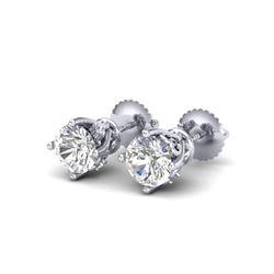 1.26 ctw VS/SI Diamond Solitaire Art Deco Stud Earrings 18K White Gold