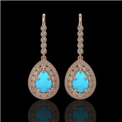 7.95 ctw Turquoise & Diamond Victorian Earrings 14K Rose Gold