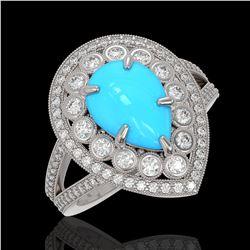 4.02 ctw Turquoise & Diamond Victorian Ring 14K White Gold
