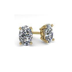 1.0 ctw Oval Cut VS/SI Diamond Stud Designer Earrings 14K Yellow Gold