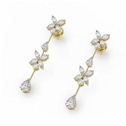 3.67 ctw Mix Cut Diamonds Designer Earrings 18K Yellow Gold