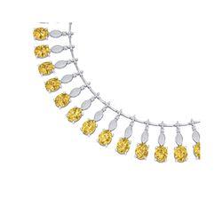 50.16 ctw Canary Citrine & VS Diamond Necklace 18K White Gold