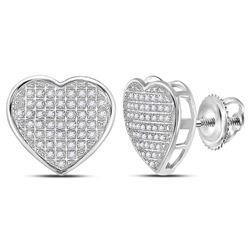 10kt White Gold Round Diamond Heart Cluster Stud Earrings 1/3 Cttw