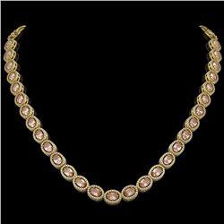 31.96 ctw Morganite & Diamond Micro Pave Halo Necklace 10K Yellow Gold