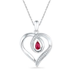 10kt White Gold Pear Lab-Created Ruby Diamond Heart Pendant 1/20 Cttw