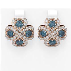 8.25 ctw Intense Blue Diamond Earrings 18K Rose Gold
