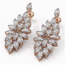 9 ctw Marquise Cut Diamond Designer Earrings 18K Rose Gold